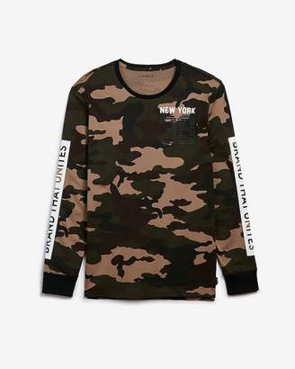 Express Brand That Unites Camo Long Sleeve Graphic Tee