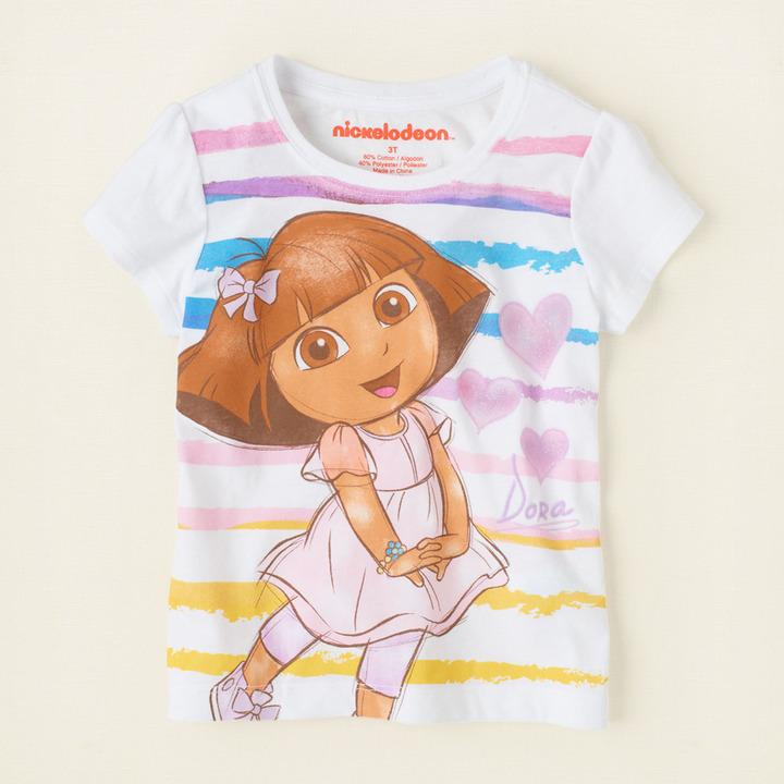 Children's Place Dora striped graphic tee