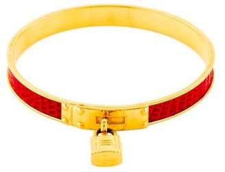 Hermes Lizard Kelly Lock Cadena Bracelet