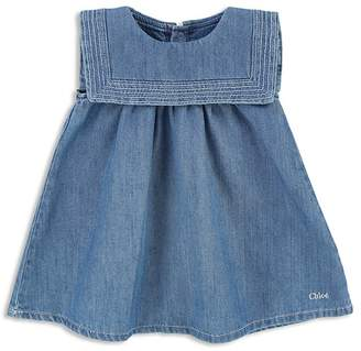 Chloé Girls' Sailor Collar Denim Dress - Baby