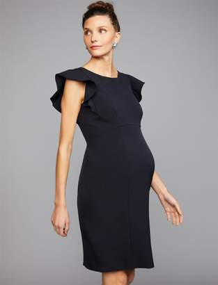 A Pea in the Pod Flutter Cap Sleeve Maternity Dress