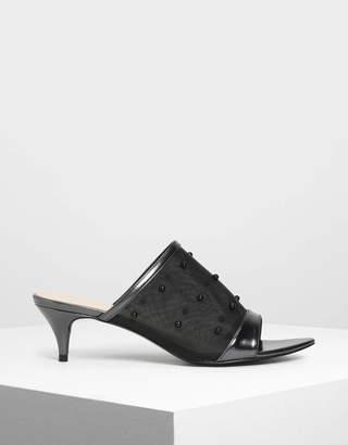 Charles & Keith Embellished Mesh Kitten Heel Slide Sandals