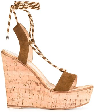 Gianvito Rossi lace-up wedge sandals