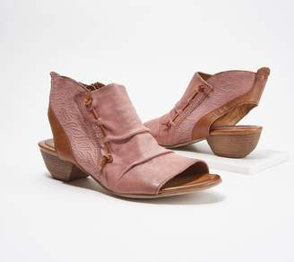 Miz Mooz Leather Peep-Toe Booties - Celia