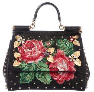 Dolce & Gabbana Embellished Wool Tapestry Miss Sicily Bag