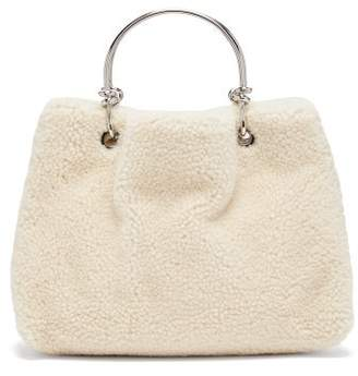 Jil Sander Knotted Handle Shearling Bag - Womens - White