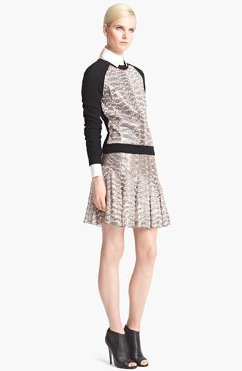 Jason Wu Snakeskin & Chiffon Flounce Skirt