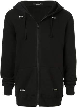 Undercover printed detail zipped hoodie