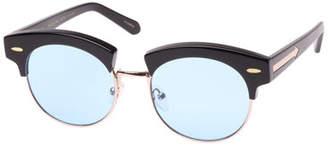 Karen Walker The Constable Round Semi-Rimless Sunglasses, Black Pattern