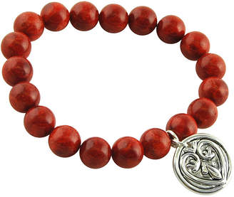 Artsmith BY BARSE Art Smith by BARSE Genuine Sponge Coral Silver Over Brass Stretch Bead Bracelet
