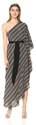 Halston Women's One Shoulder Asymmetrical Tie Waist Detail Gown