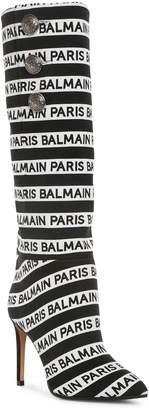 Balmain Jane stripe logo high boots