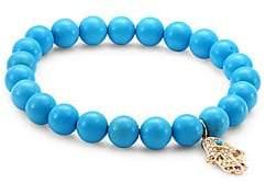Sydney Evan Women's Medium Hamsa Diamond, Ruby & Turquoise Beaded Bracelet