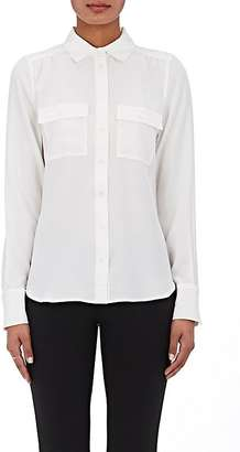 Barneys New York Women's Silk Satin-Back Crepe Blouse $350 thestylecure.com
