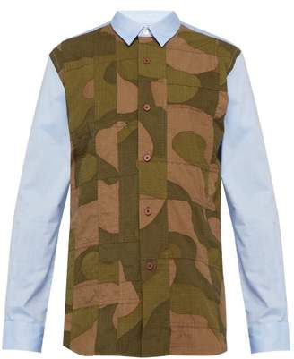 Junya Watanabe Camouflage Panelled Cotton Shirt - Mens - Multi