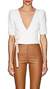 Area Women's Slub-Weave Cotton-Blend Crop Top - Ivory