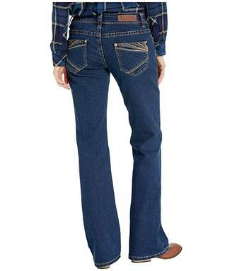 Rock and Roll Cowgirl Riding Bootcut Jeans in Dark Wash W7-1011
