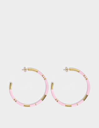 Aurelie Bidermann Positano Large Hoop Earrings in Baby Pink 18K Gold-Plated Brass