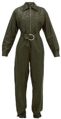 Dodo Bar Or Barbara Zipped Leather Jumpsuit - Womens - Khaki