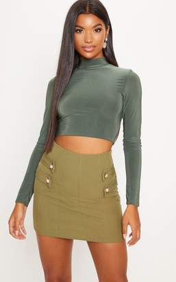 PrettyLittleThing Khaki Bandage Button Detail Mini Skirt