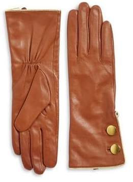 Kate Spade Double-Button Leather Gloves