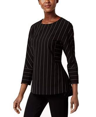 Anne Klein Women's Pinstripe Long Sleeve Blouse