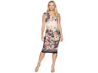 ECI Sleeveless Floral Printed Scuba Dress Women's Dress