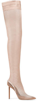 Cleo Suede And Leather-trimmed Fishnet Over-the-knee Sock Boots - Sand
