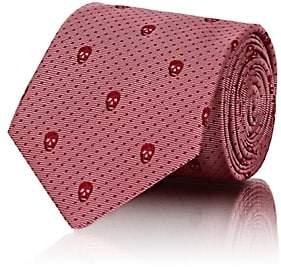 Alexander McQueen Men's Skull-Motif Dotted Silk Necktie - Pink