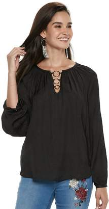 JLO by Jennifer Lopez Women's O-Ring Satin Peasant Top