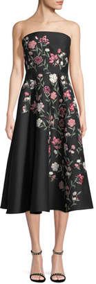 Kate Spade Lilliane Strapless Floral A-Line Midi Dress