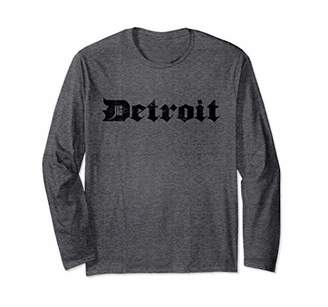 Detroit Michigan Old English D Shirt MI Vintage Style Gift Long Sleeve T-Shirt