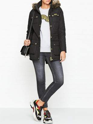 Barbour International Enduro Quilted Faux Fur Jacket- Black