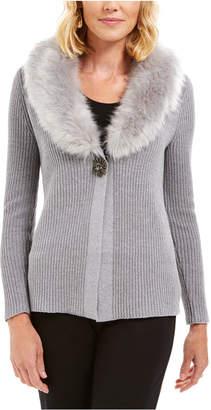 JM Collection Faux-Fur Collar & Brooch Cardigan