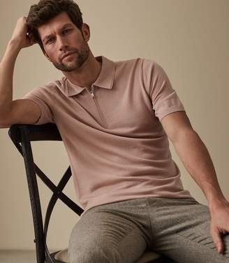Reiss Maxwell - Merino Zip Neck Polo in Soft Pink