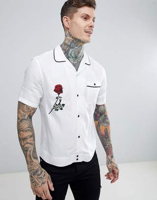 Asos Design Regular Fit Viscose Twill Shirt With Revere Collar And Embroidery In White