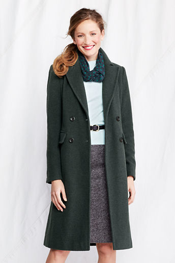 Lands' End Women's Tall Luxe Wool Double Breasted Coat