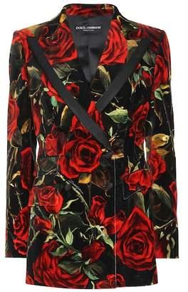 Dolce & Gabbana Rose-printed velvet blazer