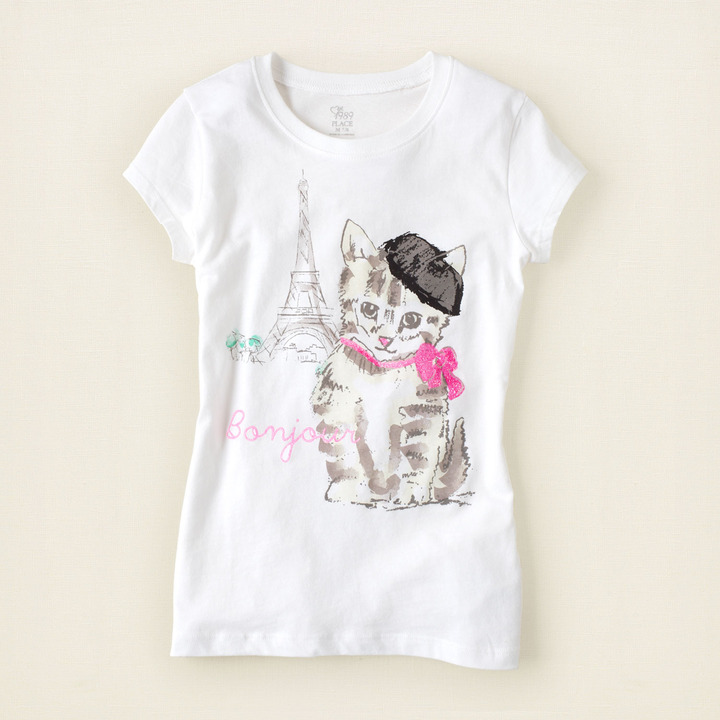 Children's Place French cat graphic tee