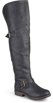 Brinley Co. Womens Over-the-knee Buckle Studded Boots