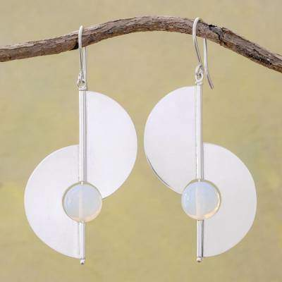 Opal and Sterling Silver Modern Earrings from Nicaragua, 'Modern Half-Moons'