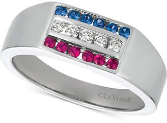 LeVian Le Vian Gents Men's Multi-Gemstone & Diamond (1/6 ct. t.w.) Ring in 14k White Gold