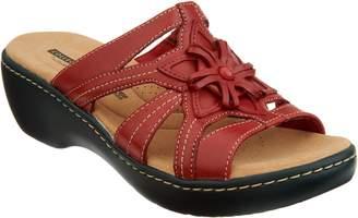 Clarks Leather Lightweight Floral Detail Slides - Delana Venna