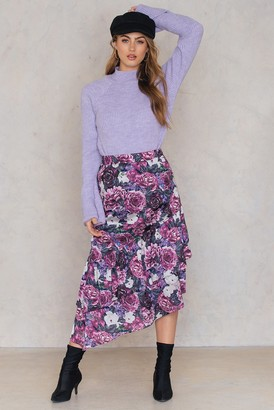 NA-KD Na Kd Bottom Frill Satin Midi Skirt Purple Flower