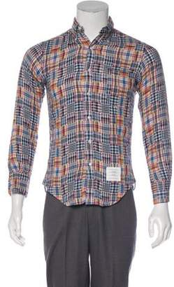 Thom Browne Patchwork Plaid Button-Up Shirt white Patchwork Plaid Button-Up Shirt