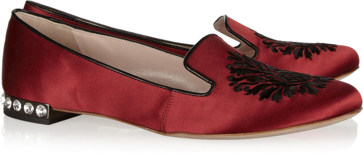 Miu Miu Embroidered satin-covered leather loafers