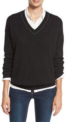 Brunello Cucinelli Monili-Trim Cashmere V-Neck Sweater, Black $1,425 thestylecure.com