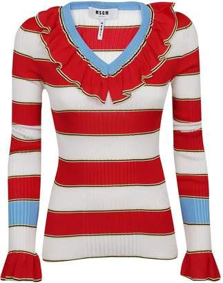 MSGM Striped Ruffle Sweater