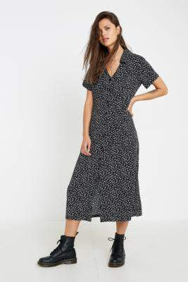 Urban Renewal Vintage Inspired By Vintage Louise Mono Floral Midi Dress - black XS at Urban Outfitters