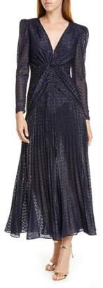 Self-Portrait Metallic Fil Coupe Long Sleeve Midi Dress